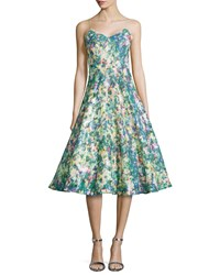 Tracy Reese Sequined Floral Print Full Skirt Cocktail Dress Multi