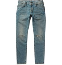 Saint Laurent Skinny Fit 15Cm Hem Distressed Stretch Denim Jeans Blue