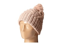 San Diego Hat Company Knh3356 Cable Knit Beanie With Faux Fur Pom Pom Blush Beanies Pink