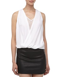 Madison Marcus Draped Surplice Faux Leather Tunic White Black