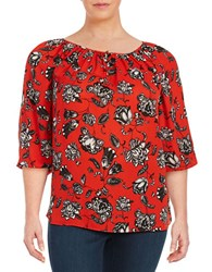 Vince Camuto Plus Floral Peasant Top Red