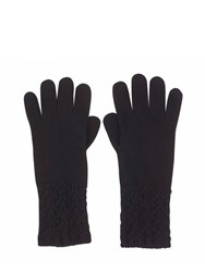 Johnstons Of Elgin Cashmere Textured Cuff Glove Black