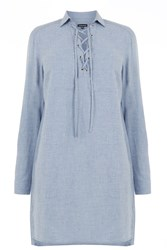 Warehouse Lace Up Tunic Light Blue