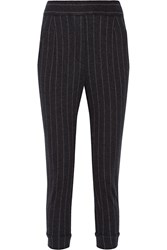 Brunello Cucinelli Embellished Pinstriped Cashmere Straight Leg Pants Charcoal