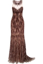 Jenny Packham Sequin Embellished Tulle Gown Brown