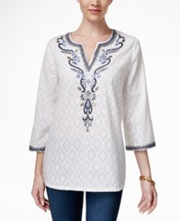 Charter Club Embroidered Jacquard Tunic Only At Macy's Bright White