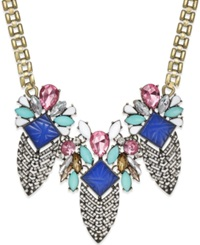 Macy's Cara Gold Tone Multicolor Stone And Crystal Statement Necklace