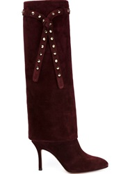 Valentino Garavani Studded Knee Length Boots Red