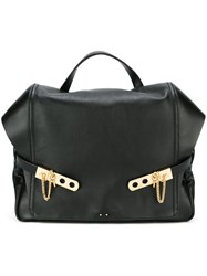 Anthony Vaccarello Gold Tone Detail Rectangular Backpack Black