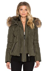 Mackage Romane Jacket With Asiatic Raccoon Fur Green