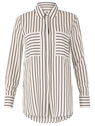 Izabel London Monochrome Stripe Blouse White