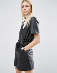 Asos Leather Look Casual Playsuit Black
