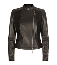 Escada Sport Lace Leather Biker Jacket Female Black