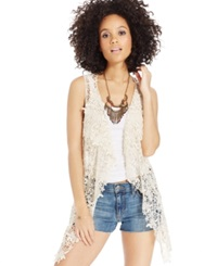 American Rag Sleeveless Crochet Vest Natural