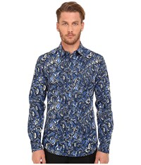 Just Cavalli Kaleido Tigers Print Woven Shirt Insignia Blue Variant Men's Clothing