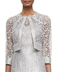 Kay Unger New York Sequined Lace Jacket Silver Multi