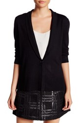 Cable And Gauge Shawl 3 4 Length Sleeve Cardigan Black