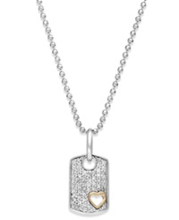 Macy's Diamond Heart Dog Tag Pendant Necklace In Sterling Silver And 14K Gold 1 5 Ct. T.W.