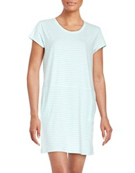 Karen Neuburger Cap Sleeve Striped Jersey T Shirt Dress With Pockets Green
