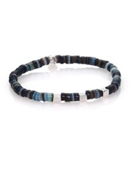 Tateossian Shell And Sterling Silver Bracelet Blue Multi