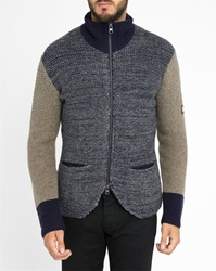 Armani Jeans Multicoloured High Collar Zipped Knit Cardigan