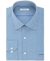 Van Heusen Men's Classic Fit Non Iron Checked Dress Shirt Bright Blue