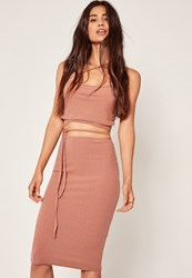 Missguided Pink Petite Exclusive Ribbed Midi Skirt Rose