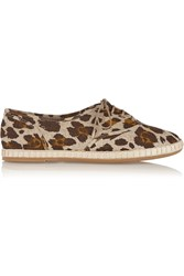 Charlotte Olympia Maria Leopard Print Canvas Lace Up Flats Animal Print