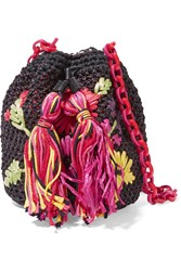M Missoni Crocheted Faux Raffia Shoulder Bag Black