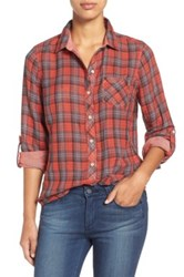 Sandra Ingrish Plaid Roll Sleeve Cotton Shirt Red