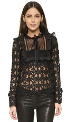 Self Portrait Balloon Sleeve Lace Top Black