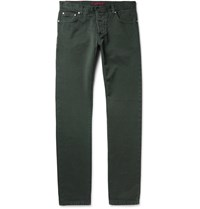 Isaia Slim Fit Denim Jeans Green