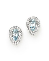 Bloomingdale's Aquamarine And Diamond Teardrop Earrings In 14K White Gold White Blue