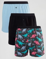 Asos Jersey Boxers With Dinosaur Print 3 Pack Multi