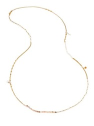 Chan Luu Mother Of Pearl African Opal And Clear Quartz Long Beaded Chain Necklace Gold Multi