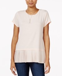 Maison Jules Pleated Contrast Top Only At Macy's Pearl Blush