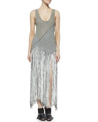 Proenza Schouler Fringe Skirt Houndstooth Dress Black Off White
