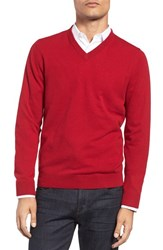Nordstrom Men's Big And Tall Men's Shop Cashmere V Neck Sweater Red Brick