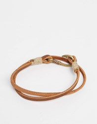 Asos Double Wrap Bracelet In Brown Leather Brown