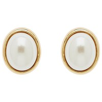 Finesse Oval Pearl Stud Earrings Gold White