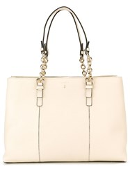 Serapian Chain Trim Handle Tote Nude And Neutrals