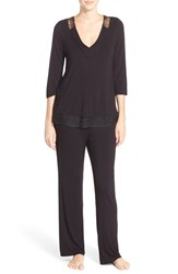 Midnight By Carole Hochman Women's Lace Trim Jersey Pajamas Black