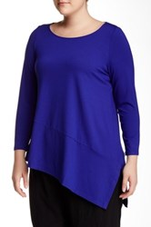 Eileen Fisher Boatneck Asymmetrical Hem Tunic Plus Size Blue