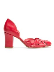 Sarah Chofakian Chunky Heel Pumps Red
