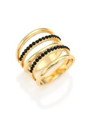 Jules Smith Designs Crystal Pave Cage Ring Gold Black