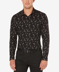 Perry Ellis Men's Slim Fit Shadowed Paisley Shirt Black