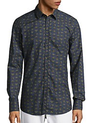 Dolce And Gabbana Crown Print Cotton Sportshirt Light Blue Gold