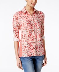 G.H. Bass And Co. Floral Print Long Sleeve Top Only At Macy's Cherry Tomato