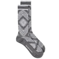 White Mountaineering Native Pattern Middle Sock Black