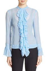 Tracy Reese Women's Ruffle Front Crinkled Silk Georgette Blouse Stormy Sky
